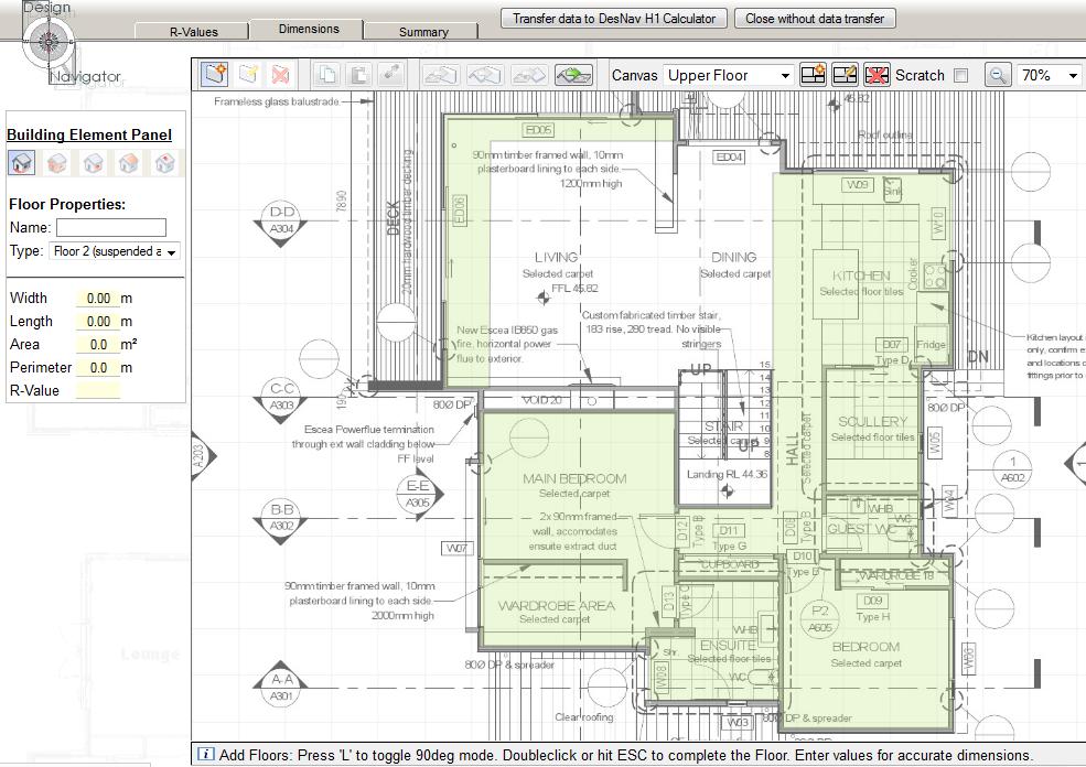 Capturing floor plan dimensions
