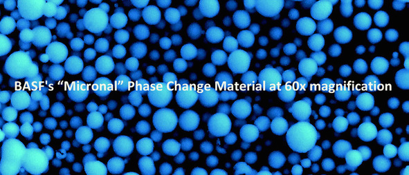 Phase Change Material (PCM) consists of microscopic beads of wax that absorb large amounts of heat to change the wax from solid to liquid form, thus providing the effect of thermal mass, without the mass.