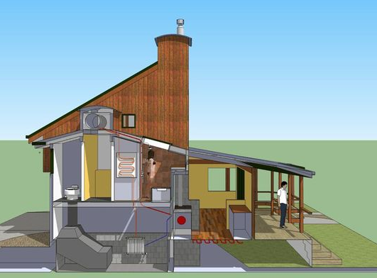 The wood stove in Andrew's own permaculture home provides heat for six different functions.
