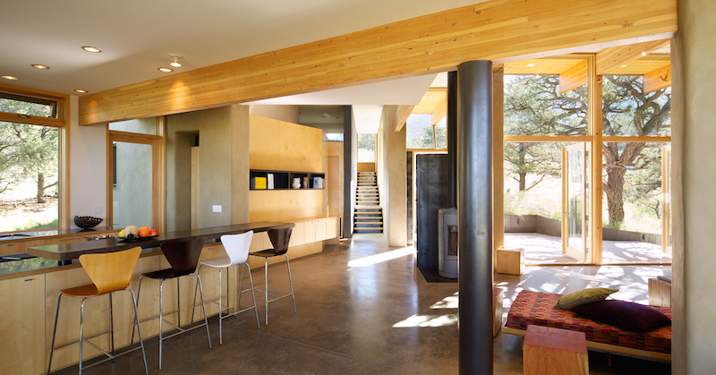 Living Area | Strawbale Getaway | Gettliffe Architecture, Boulder Colorado. Photo courtesy David Lauer Photography.
